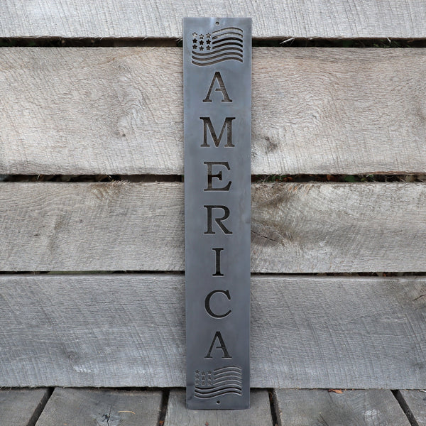 Personalized American Flag Metal Porch Sign - Patriotic Front Door Wall Art - Fourth of July Welcome Decor