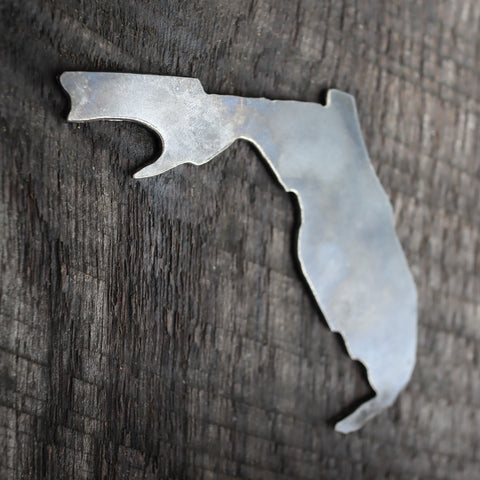 Raw Steel Florida State Bottle Opener - Rustic Home Decor - Unique Wedding Favor - Groomsmen Gift