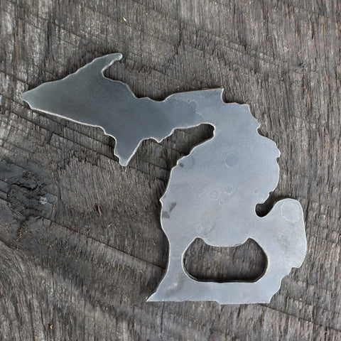 Raw Steel Michigan State Bottle Opener - Rustic Home Decor - Unique Wedding Favor - Groomsmen Gift