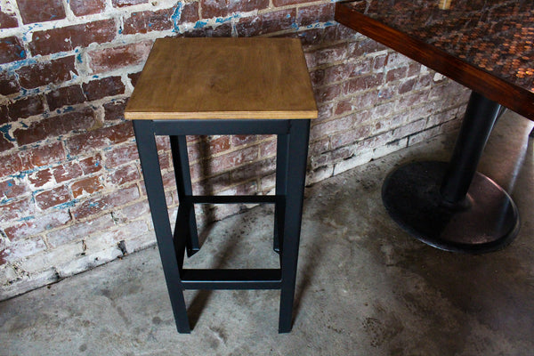 Modern Backless Metal Barstool - Industrial Style Bar Stool - Minimalist Wood Top Pub Stool - Steel Base With Foot Rest