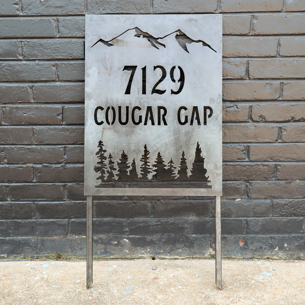 Mountain Address Planter Sign - Personalized House Number with Stakes - Metal Front Yard Decor with Stakes