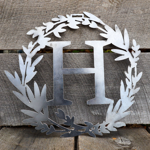 Custom Metal Monogram Spring Wreath - Initial Letter Front Door Hanger Decor - Best Wedding Gift 2019