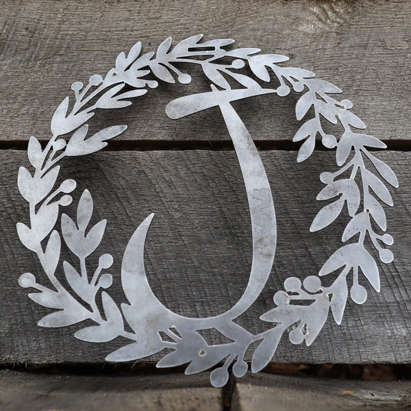 Custom Metal Monogram Fall Wreath - Initial Letter Front Door Hanger Decor - Best Wedding Gift 2019