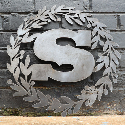 Custom Metal Monogram Christmas Wreath - Initial Letter Front Door Hanger Decor - Best Wedding Gift 2019