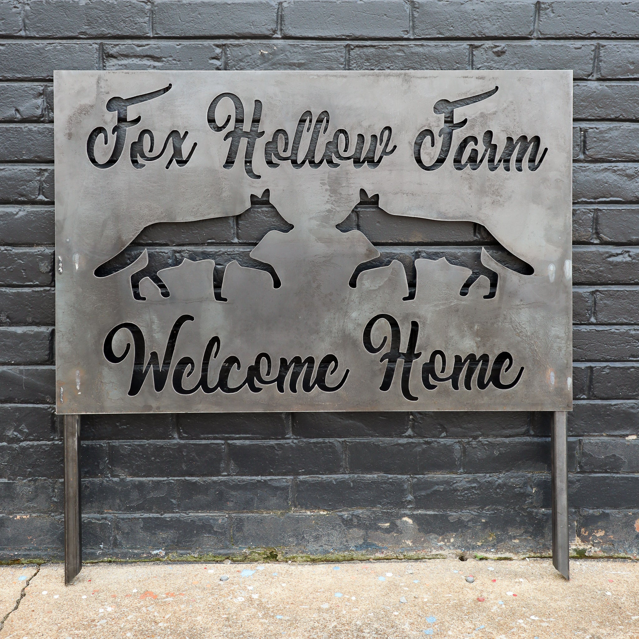 Welcome Planter Sign - Personalized Farm House Address with Stakes - Metal Front Yard Decor with Stakes