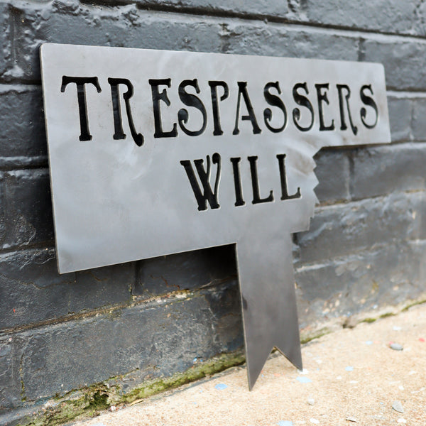 Winnie the Pooh Trespassers Will Garden Sign - Kids Room Nursery Metal Art