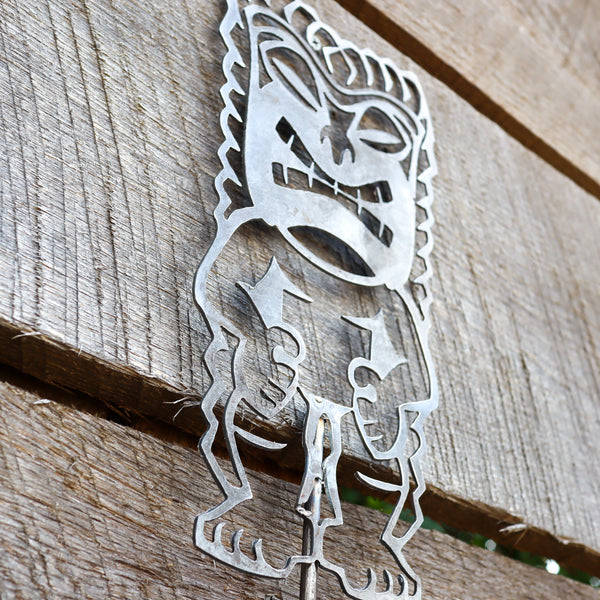 Metal Tiki Garden Stake - Steel Gardening Decor - Yard Art Marker