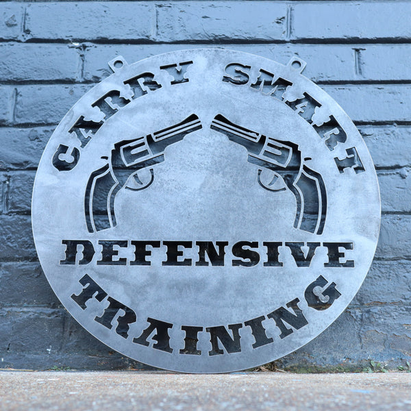 Personalized Hanging Metal Gun Sign - Pistol, Rifle, Firearms Defensive Safety Training