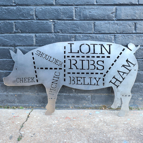 Pork Cuts Sign - Kitchen, Butcher Shop, Barbecue, BBQ, Pig Metal Sign