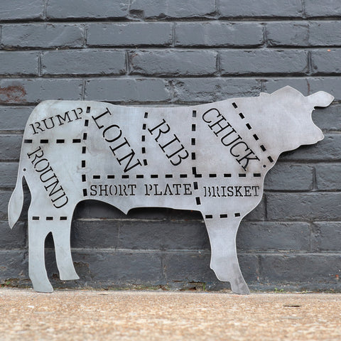 Beef Cuts Sign - Kitchen, Butcher Shop, Cow Metal Sign, Beef Art, Beef Decor