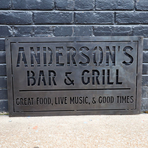 Personalized Metal Family Bar and Grill Sign - Outdoor Last Name Patio Decor - Man Cave, Clubhouse Wall Art