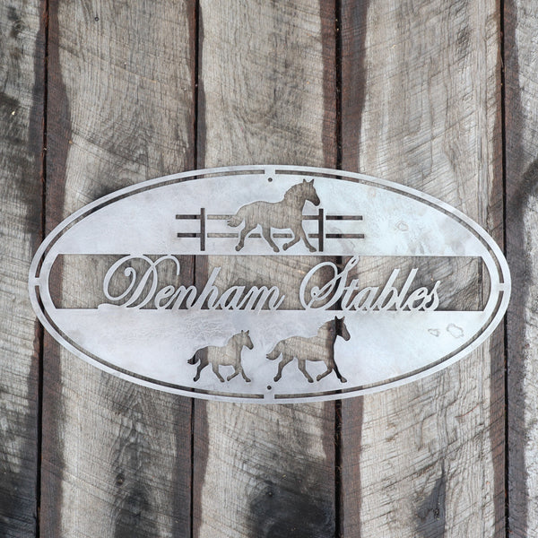Personalized Metal Horse Stables Sign - Equestrian, Country Wall Art