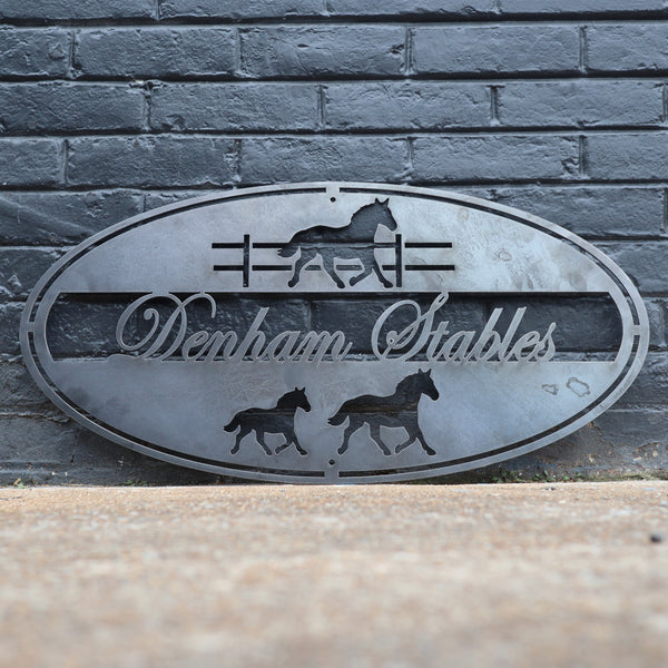 Personalized Metal Horse Stables Sign - Equestrian - Country Wall Art