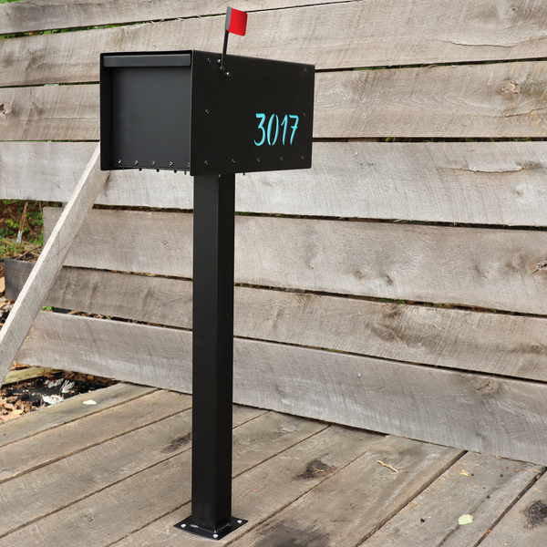 Custom Steel Mailbox - Metal Address Mail Box with Personalized Numbers - Letter Box Post