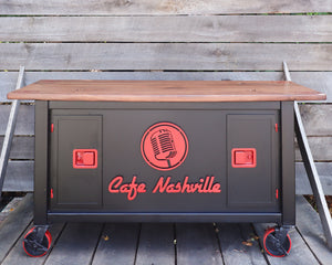 Custom Logo Workstation Studio Desk - Radio Broadcast Interview Sound Engineer Table - Handcrafted Furniture Office Decor