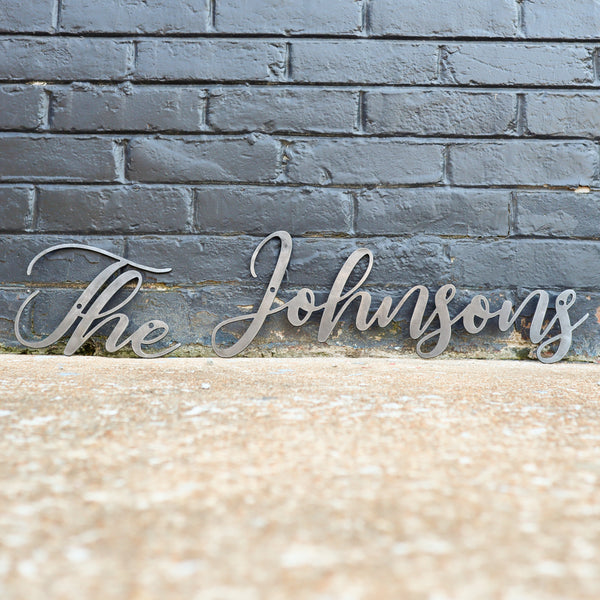 Last Name Cursive Words Wedding Sign - Personalized Metal Family Decor - Custom Wall Art