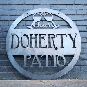 Custom Hanging Metal Patio Sign - Outdoor Beach Decor - Wedding Gift