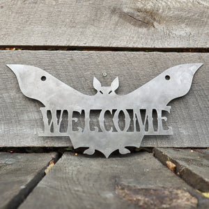 Halloween Welcome Sign - Spooky Metal Bat Door Decor - Front Porch Fall Art