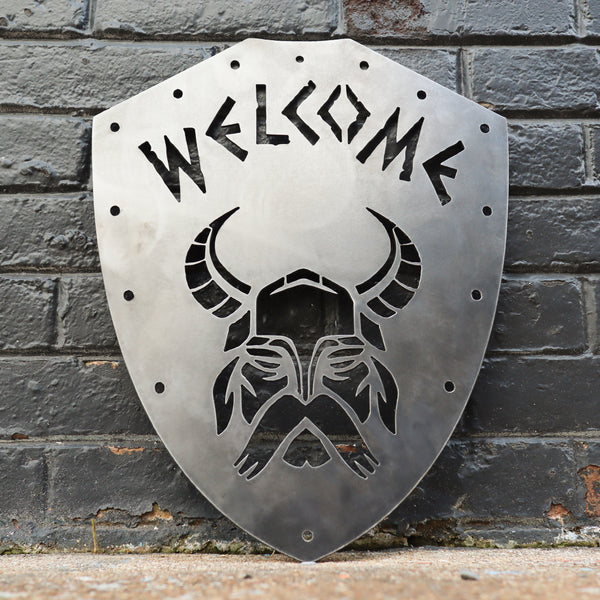 Welcome Viking Shield - Nordic Metal Front Door Sign - Norse Wedding, Kids Room, Man Cave Decor