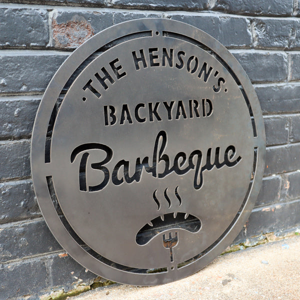 Personalized Metal Family Backyard Barbeque Sign - Outdoor Last Name Grilling BBQ Patio Decor - Man Cave Wall Art