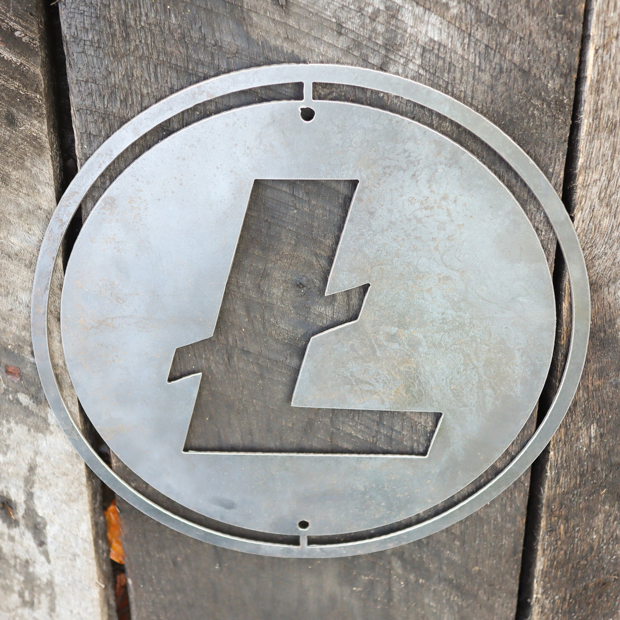 Metal Litecoin Shop Sign - Steel Cryptocurrency Business Decor - Custom Size Crypto Bitcoin Altcoin