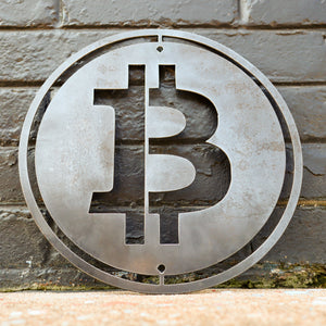Metal Bitcoin Shop Sign - Steel Cryptocurrency Business Decor - Custom Size Crypto Bit Coin