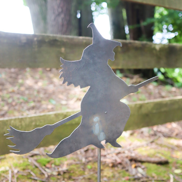 Metal Witch Garden Stake - Halloween Steel Lawn Decor - Fall Yard Art Marker