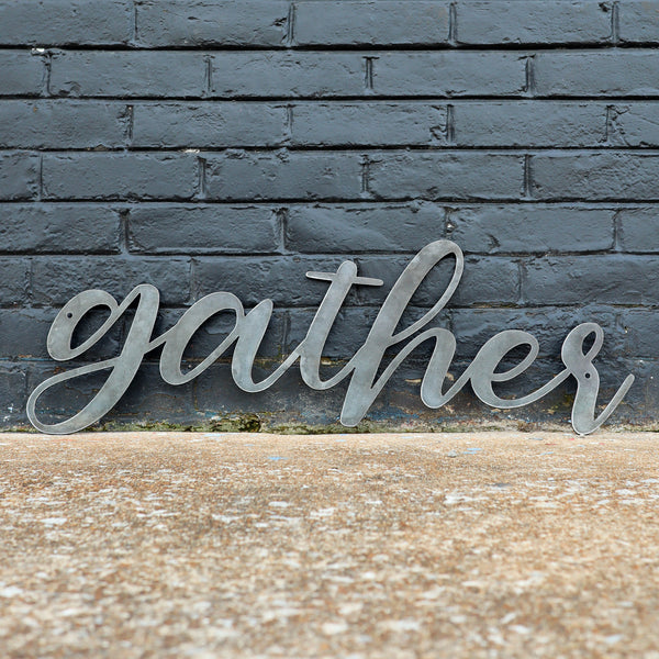 Gather Metal Sign - Rustic Cursive Word Home Decor - Farmhouse Kitchen Dining Wedding Wall Art