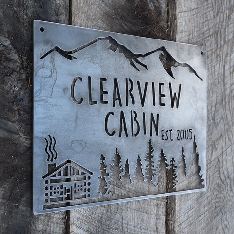 Personalized Rustic Metal Cabin Wilderness Sign - Mountain Cabin Wall Art
