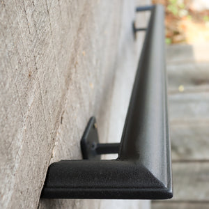Metal Handrail with Square Returns - ADA Compliant Return Wall Mount Grab Rail - Victorian Stair Rail