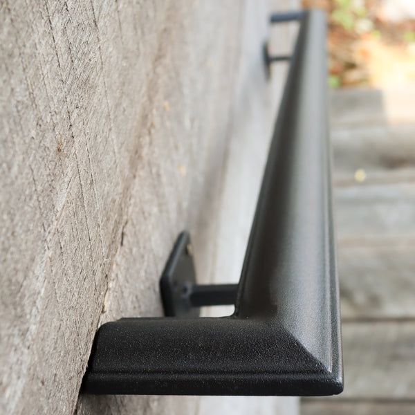 Custom Length Metal Handrail with Square Returns - ADA Compliant Return Wall Mount Grab Rail - Victorian Stair Rail