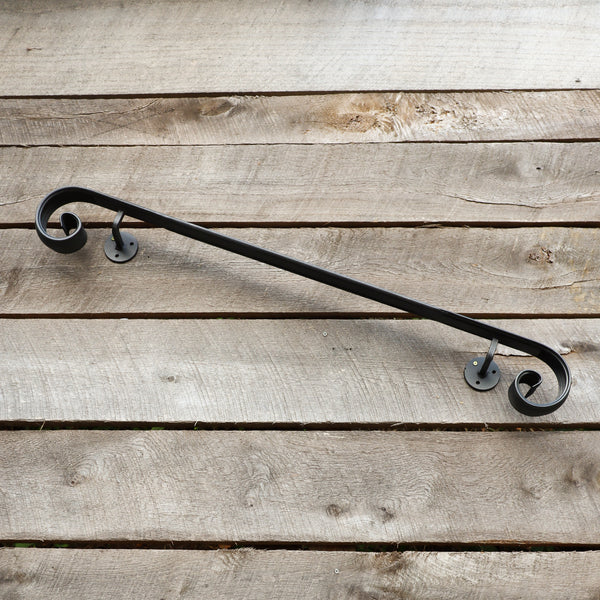 Metal Handrail with Scroll End - Wall Mount Grab Rail - Victorian Stair Rail