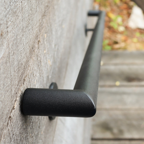 Custom Length Round Metal Handrail with Square Returns - ADA Compliant Return Wall Mount Grab Rail - Modern Stair Rail