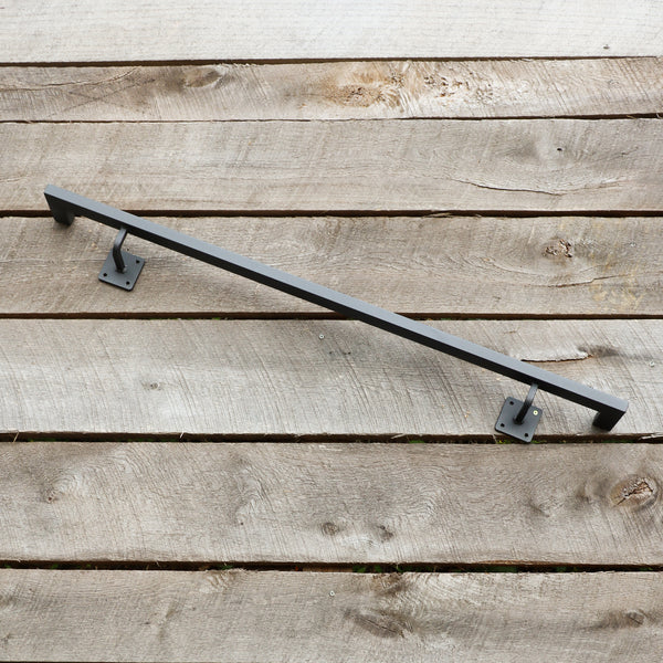 Square Metal Handrail with Square Returns - ADA Compliant Return Wall Mount Grab Rail - Rustic Farmhouse Stair Rail