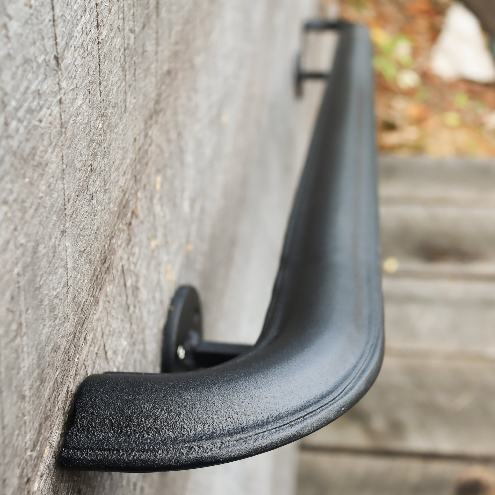 Custom Length Metal Handrail with Curved Returns - ADA Compliant Return Wall Mount Grab Rail - Victorian Stair Rail