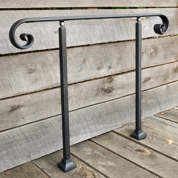 Custom Length Adjustable Metal Handrail with Scroll End - Make A Rail Grab Rail - Victorian Stair Decor