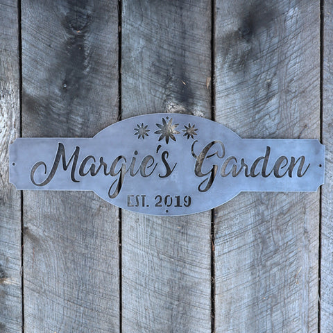 Personalized Metal Garden Sign - Gardening Wall Art - Name Established Year