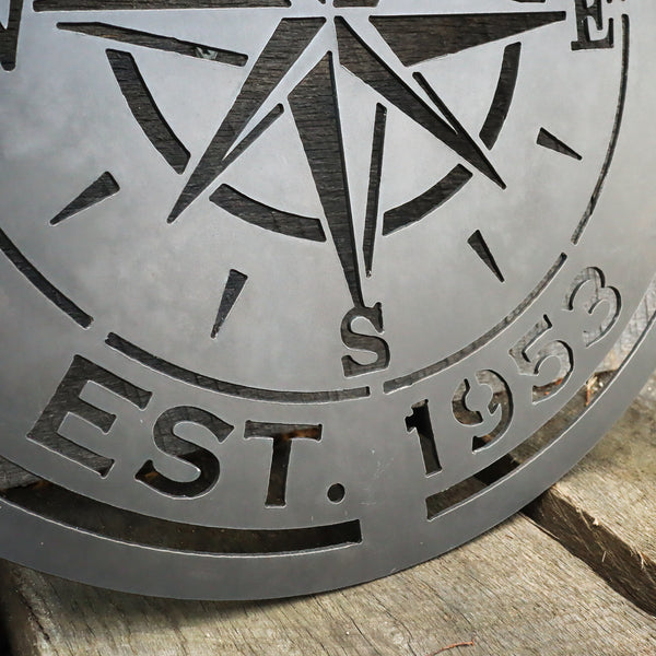 Compass Rose Wedding Gift Sign - Personalized Metal Nautical Wall Art - Established Date Anniversary