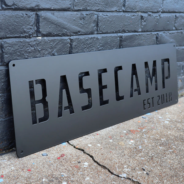 Personalized Metal Basecamp Sign - Camping, Hiking, Backpacking Decor Wall Art - Base Camp Name Established Year