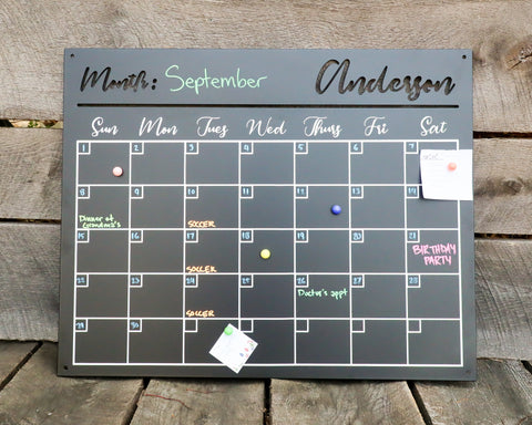 Magnetic Monthly Calendar - Personalized Family Command Center - Steel Dry Erase Planner Board