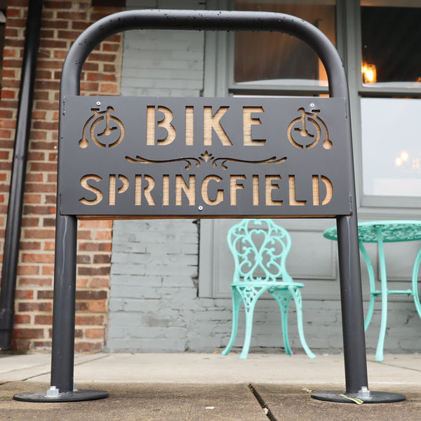 Classic Personalized Bike Rack - 1 Loop Bicycle Stand - Downtown City Installation