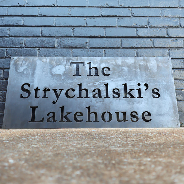Modern Metal Lake House Sign - Personalized Last Name Family Wall Art - Front Porch Decor