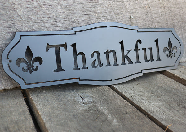 Thankful Metal Sign - French Country Thanksgiving Decor - Rustic Farmhouse Kitchen Dining Room Wall Art