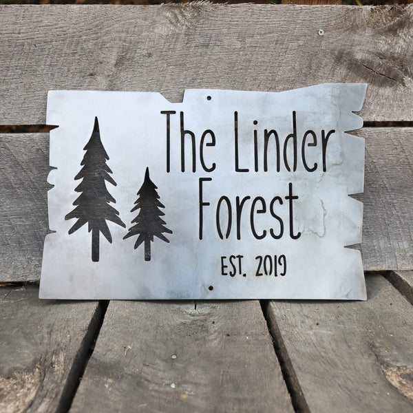 Personalized Metal Forest Sign - Mountain Cabin Established Date Wall Art