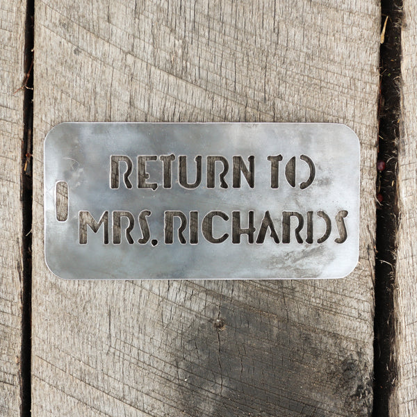 Teacher's Personalized Metal Tag - Back to School Teacher Gift - Classroom Decor