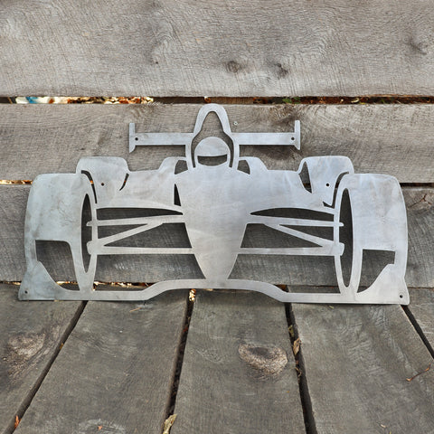 Indy Race Car Metal Sign - Formula Racing Nursery Kids Room Wall Art - Man Cave Workshop Garage Decor