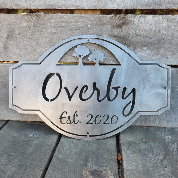 Personalized Vintage Metal Outdoor Wedding Sign - Established Family Name Tree Decor