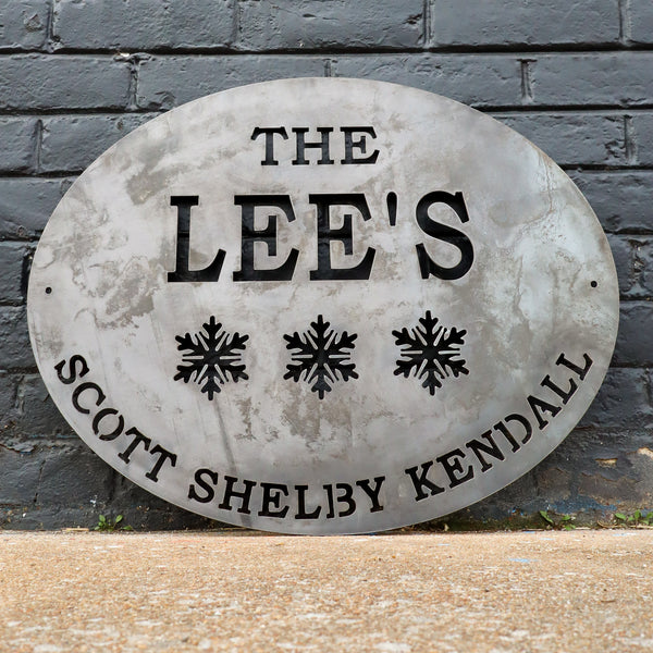 Personalized Metal Family Sign - Last Name Winter Decor