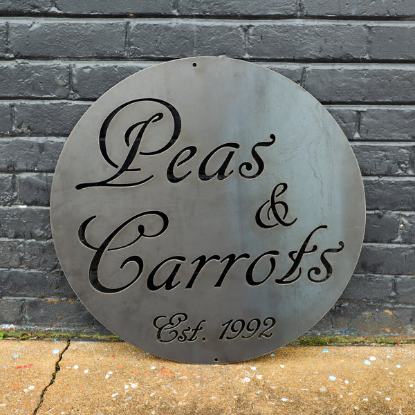 Personalized Garden Sign - Metal Vegetable Plant Marker - Established Date