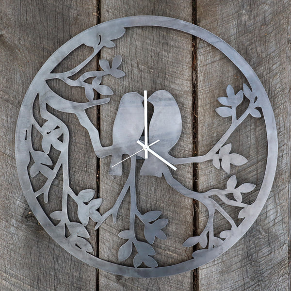 "Romantic Metal Clock - Rustic Home Wall Art - 24"" Diameter with Birds and Tree Branches"